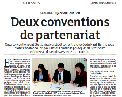 Article DNA-deux conventions de partenariat